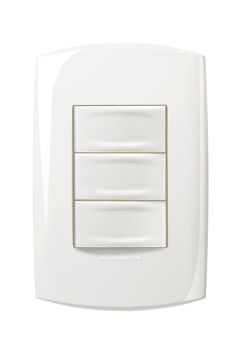Conjunto 3 Interruptores simples 10A 250V com placa e suporte 4x2 Branca linha Bliss