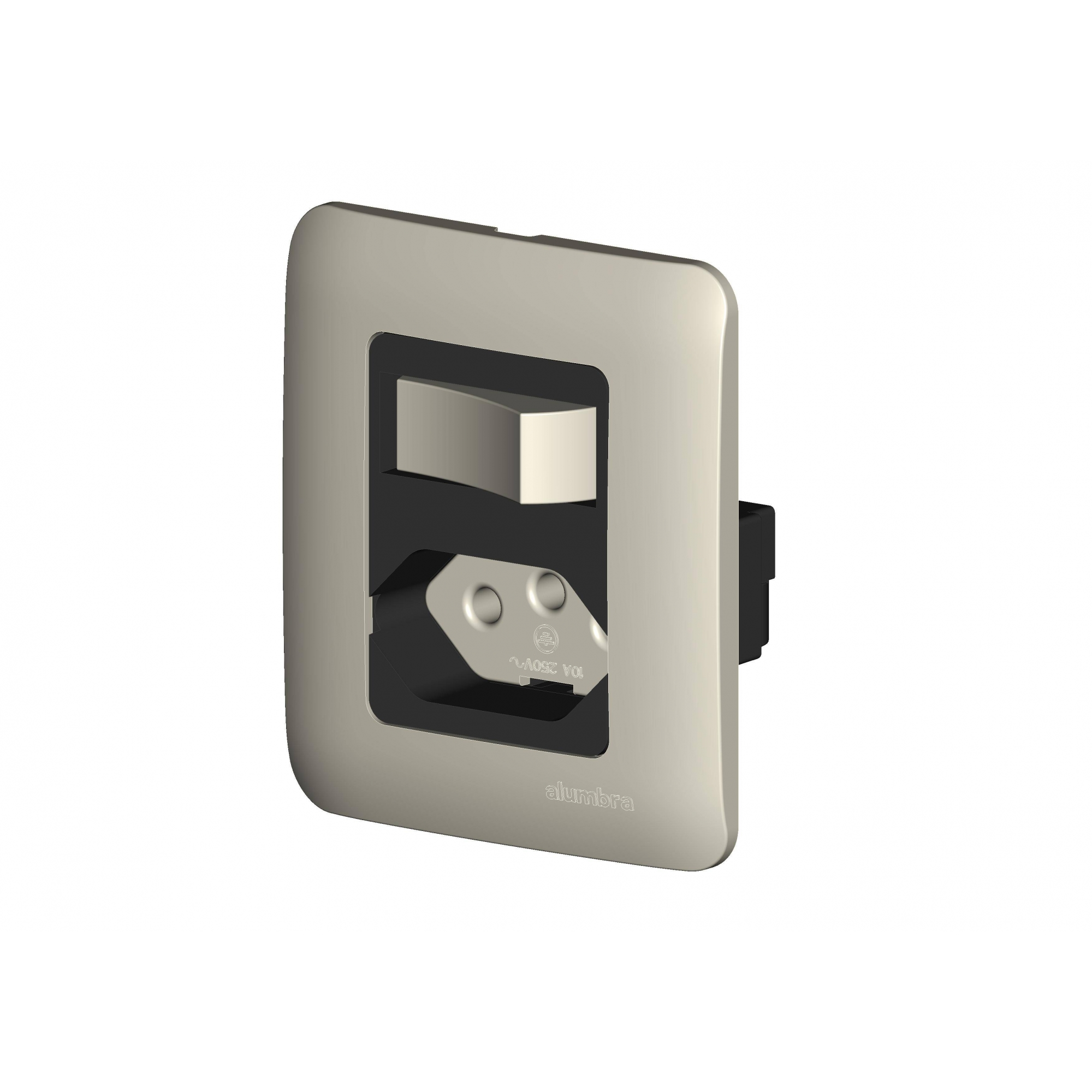 Conjunto De Sobrepor 1 Interruptor Paralelo  Elo +  1 Tomada 2P+T 10A Com  Placa - Branco - Alumbra - Linha A