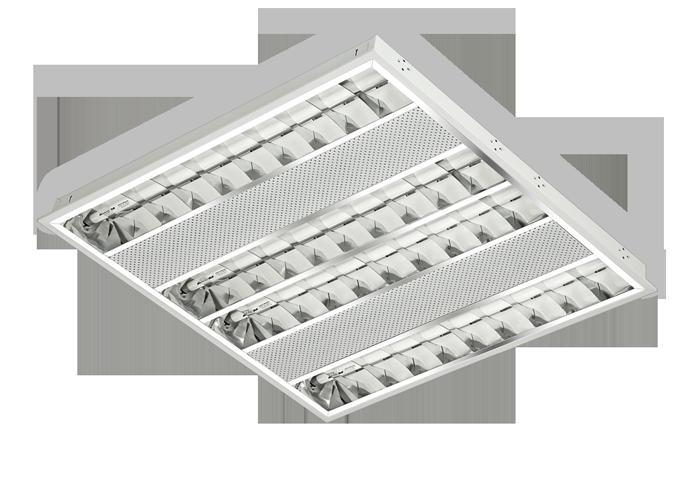Luminária de embutir T5 para 4 lâmpadas tubulares de 14W