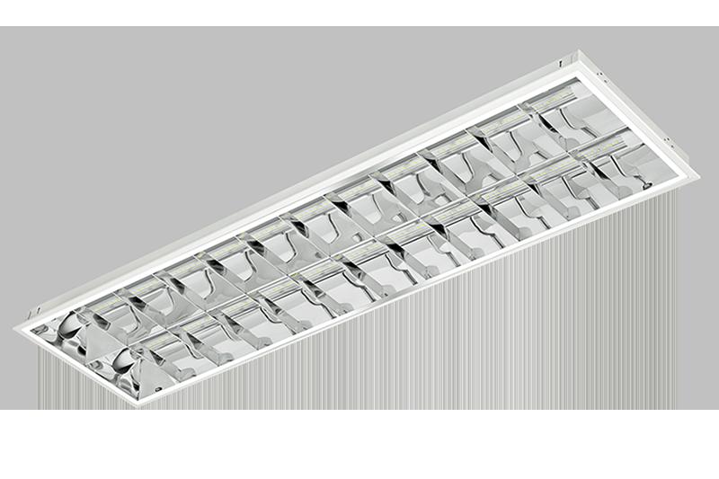 Luminária de embutir T8 T10 para 2 lâmpadas tubulares de 600mm