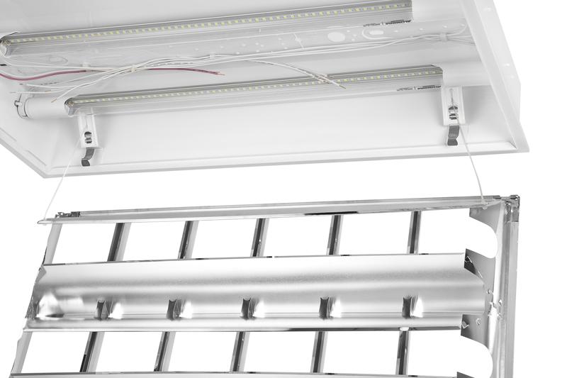 Luminária de embutir T8 T10 para 2 lâmpadas tubulares T8 18W ou T10 20W