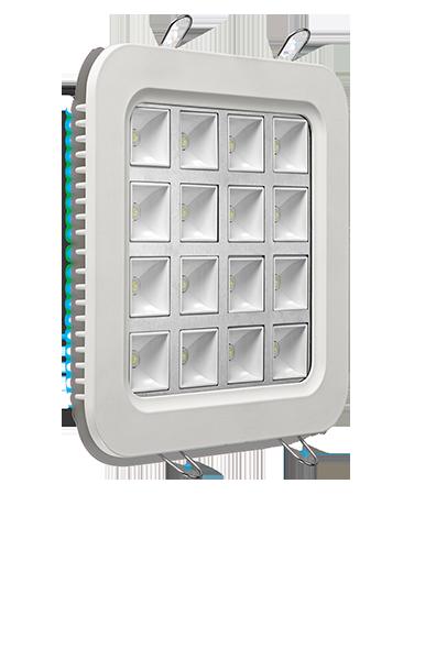 Luminária LED de embutir quadrada 25W bivolt luz branca com difusor de vidro quadrado