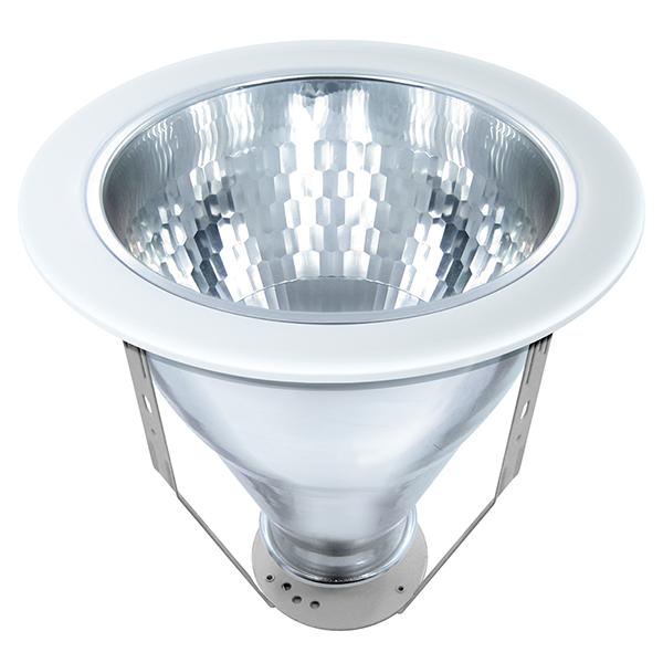 Luminária spot redonda Ø238 de alumínio branco com refletor metalizado