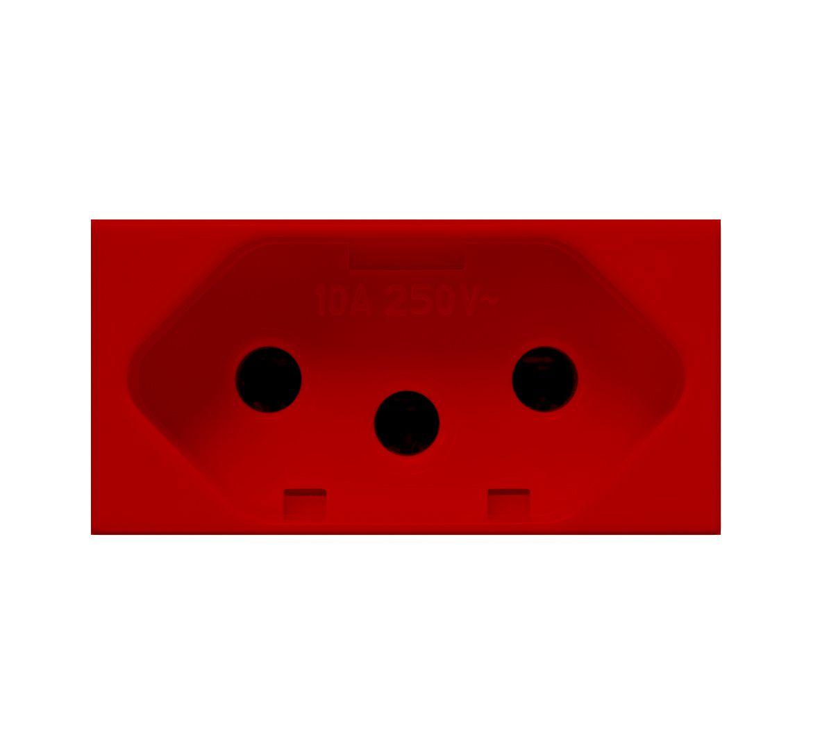 Módulo tomada 2P+T 10A 250V~ vermelha linha Bliss