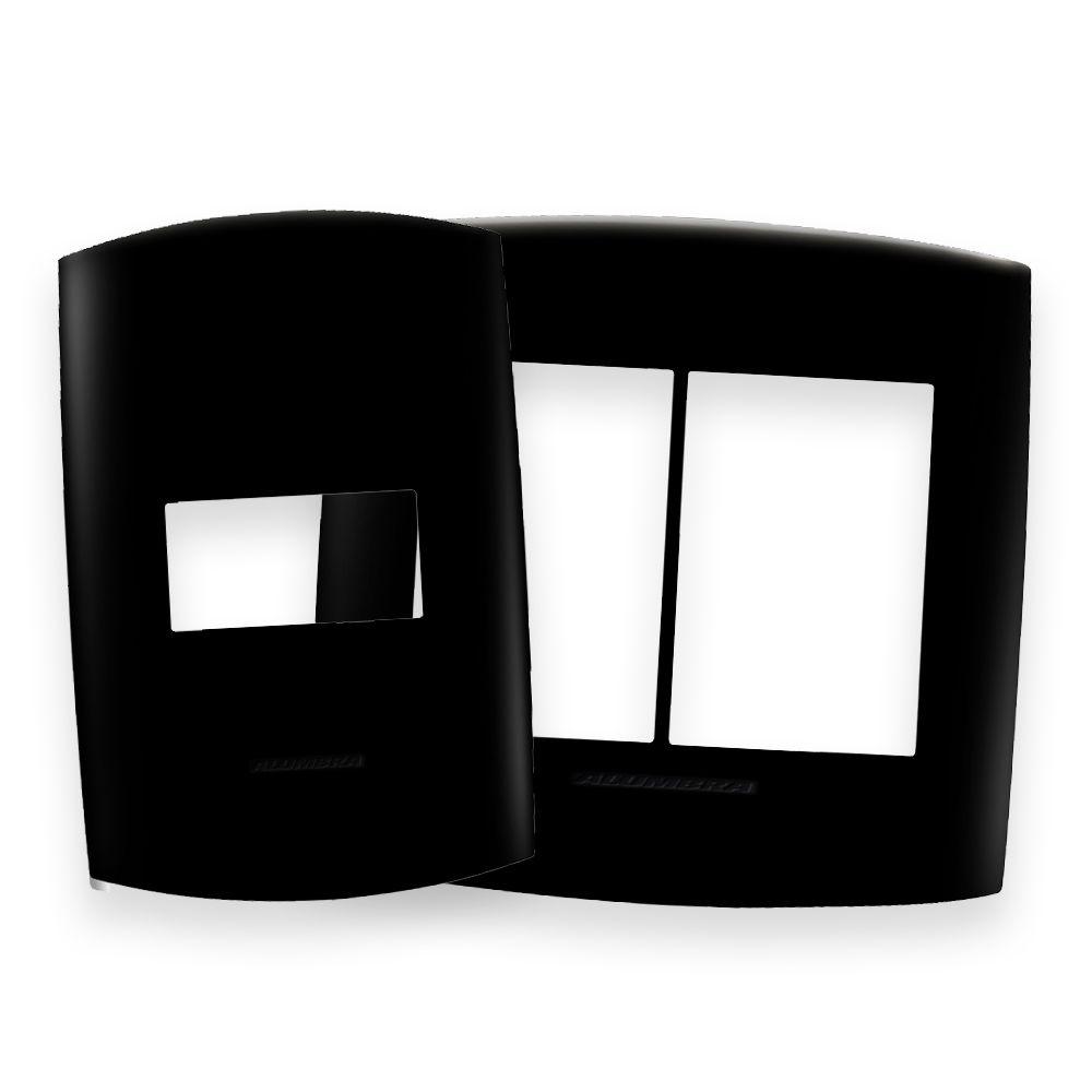 Placas 4x2 e 4x4 cor Preto Ébano linha BLISS