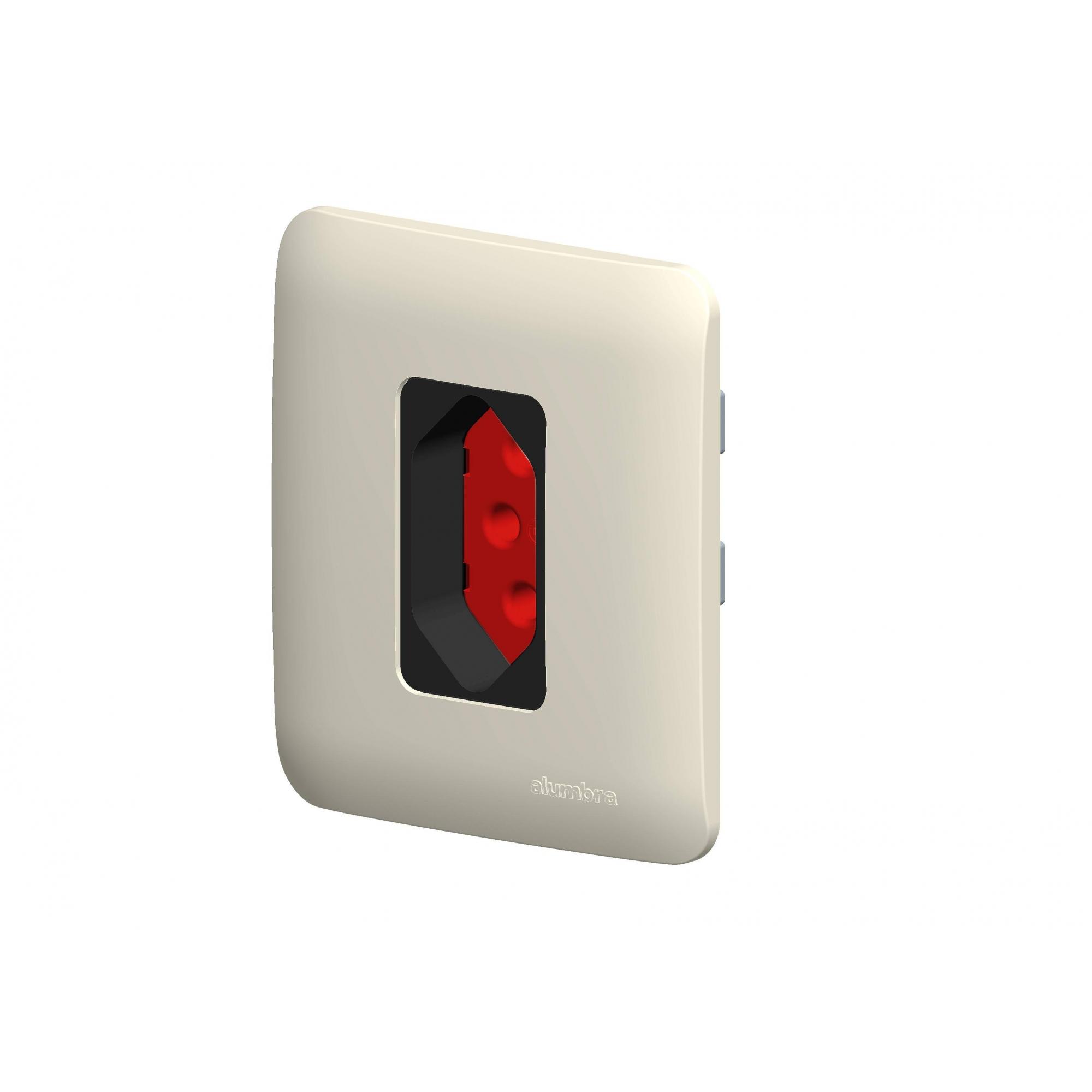 Conjunto De Sobrepor  1 Tomada 2P+T 20A Vermelha Com  Placa - Alumbra - Linha A