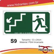Placa S9 Boneco Escada Desce Esquerda