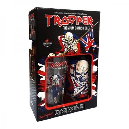 Kit Cerveja Trooper Iron Maiden IPA Garrafa 500ml + copo