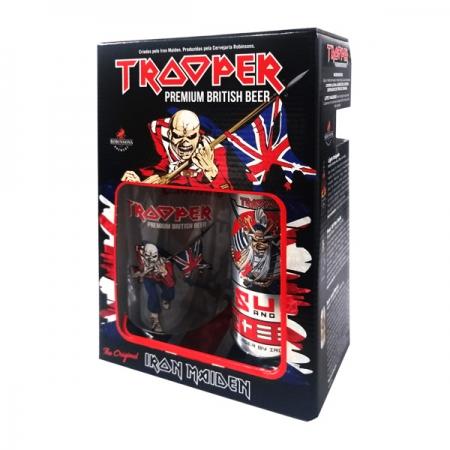 Kit Cerveja Trooper Iron Maiden Sun and Steel Sake Lager 500ml + copo