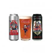 Kit de 2 Cervejas Trooper Iron Maiden, Premium British e Sun Steel e 1 copo