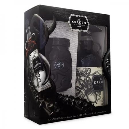Kit Rum The Kraken Black Spiced Mason 750ml + Copo