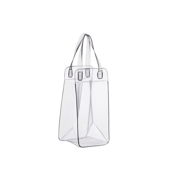Bolsa PVC Transparente para gelo e 1 garrafa  11X34X11cm