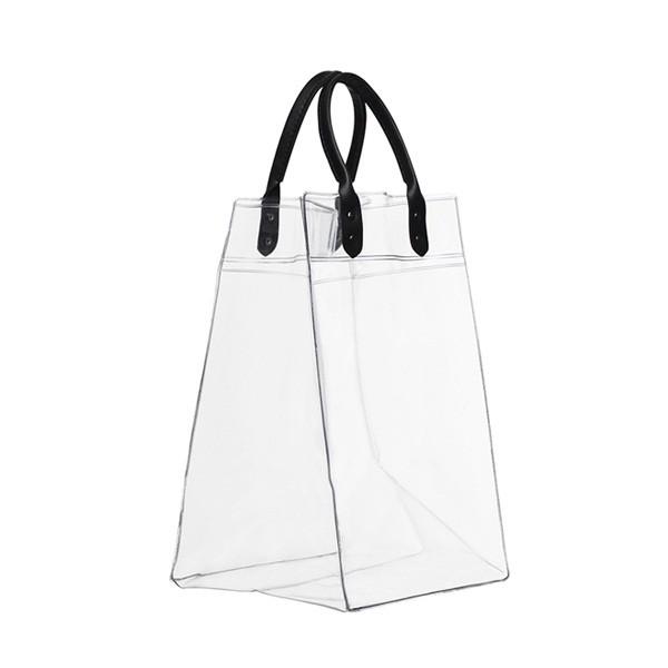 Bolsa PVC Transparente para gelo e 3 garrafas com alça de couro 18x48x18cm