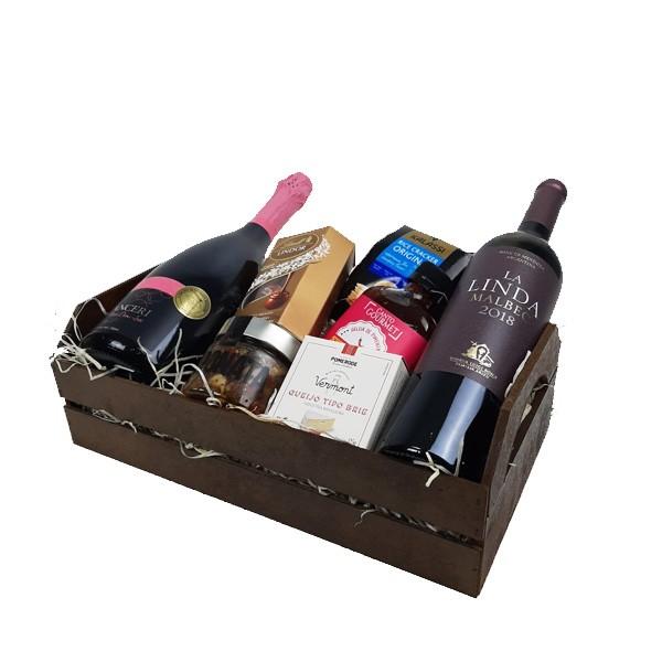 Cesta de Presente com Vinho e Espumante