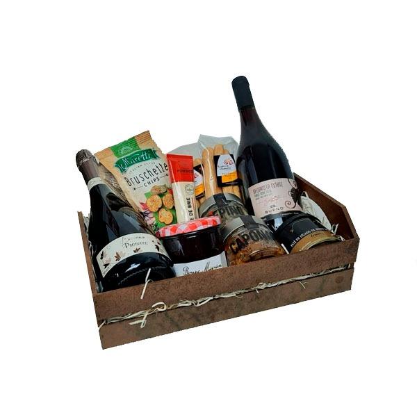 Cesta de Presente com Vinho e Espumante Bella Itália