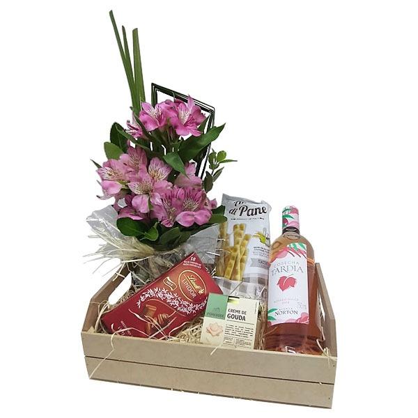 Cesta dia das Mães Cosecha Tardia e Flores