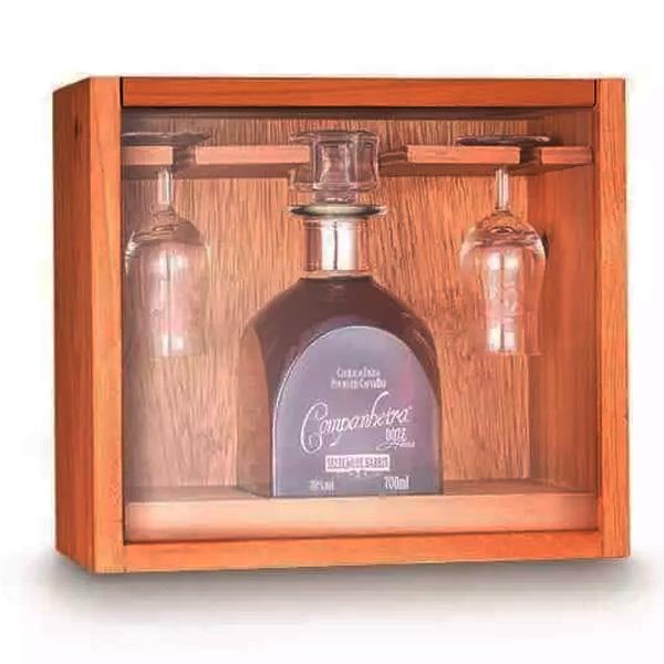 Kit Cachaça Companheira Extra Premium Carvalho 12 anos seleção de barris 700 ml  + taças e caixa de madeira