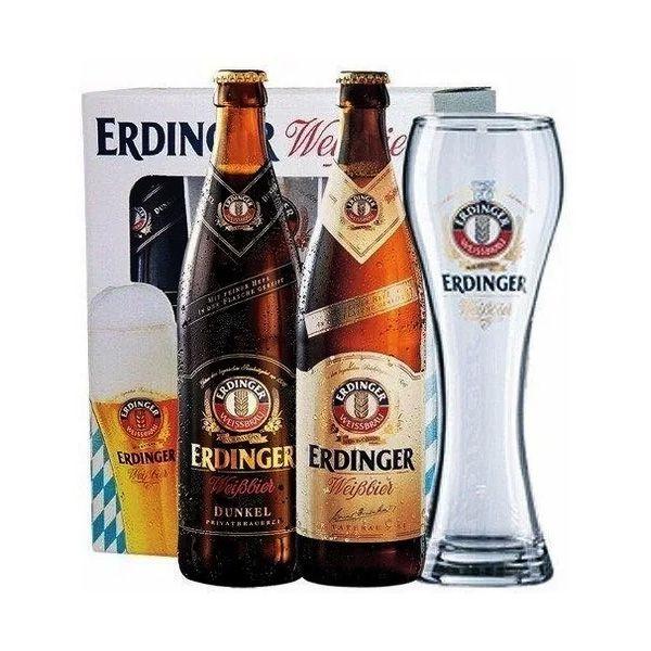 Kit Cerveja Erdinger 2 garrafas 500ml + Copo 500ml
