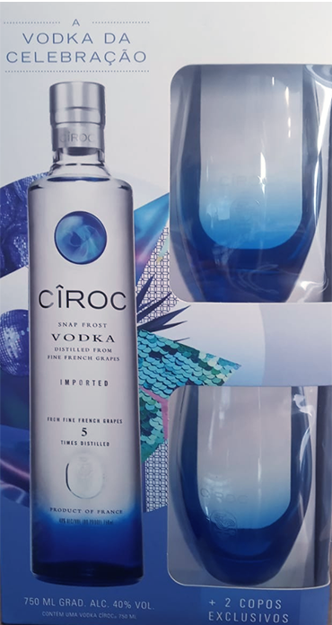 Kit Ciroc Vodka + 2 Copos