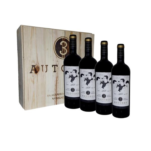 Kit com 4 Vinho Português Tinto 3 Autores Grande Reserva 750ml