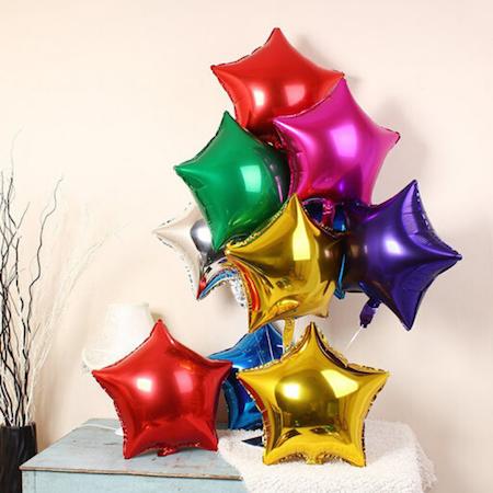 10 Balão Metalizado estrela médio
