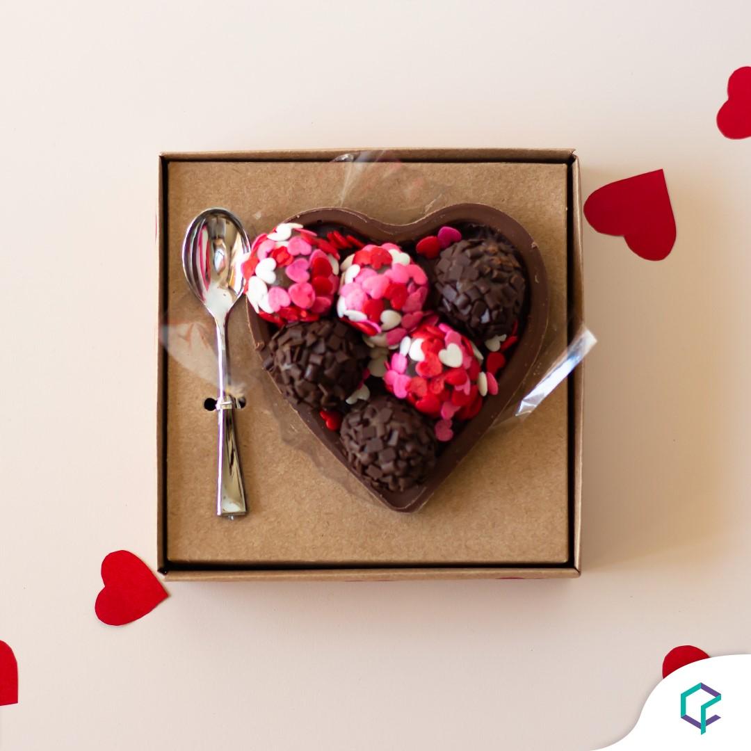 10 Caixa Coração de Colher - Meio Coração de 200g a 250g - Gourmet Kraft