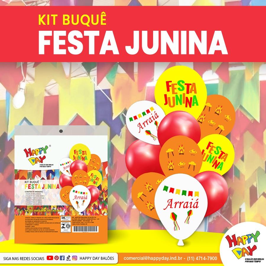 Kit Buquê Festa Junina Arraiá 10 Unidades - Balão - Bexiga