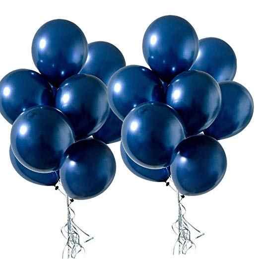 10 Unidades Nº 16 azul da meia noite Balão Platino Grande Cromado