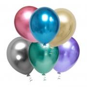 25 Balão Cromado alumínio platino Redondo tamanho 9