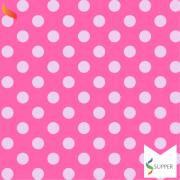 2 metros tnt poá bolinha rosa e branco