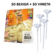 50 Bexiga Transparente para Topo Bolo + 50 Varetas Brancas