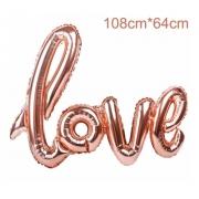 Balão metalizado love rose gold amor metalizado 1m