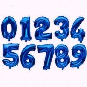 Balão Metalizado Número Azul - 40cm