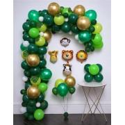Kit de Balões para arco Desconstruído Safari Orgânico Cromado + Tira