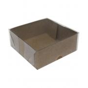 Caixa quadrada 14x14 tampa acetato kraft - 10 unidades