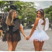 Fantasia feminina adulto anjo branco preto