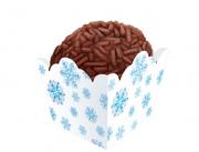 Forminha para docinho mini cachepô flocos de neve frozen -  24 unidades