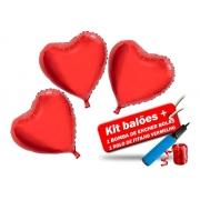 Kit 10 Balão Metalizado Coração + Bomba + Fitilho