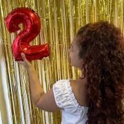 Kit cortina metalizada + Balão metalizado de número 40cm