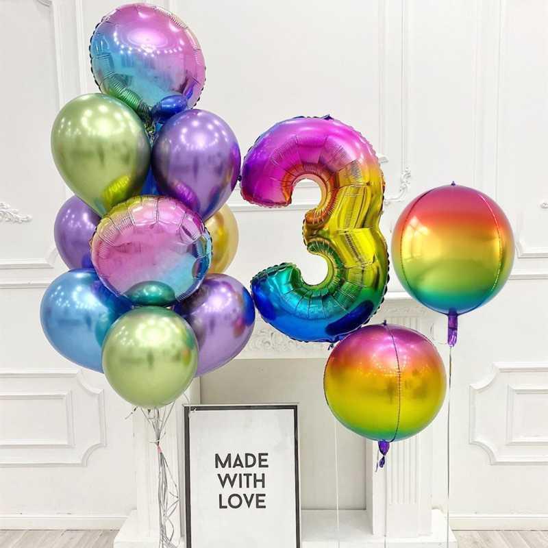 Balão de Número metalizado degradê 70cm