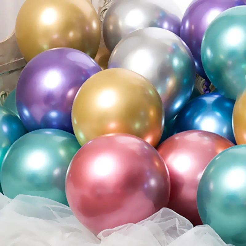 25 Balão Bexiga Cromado Metalizado platino Alumínio numero 9