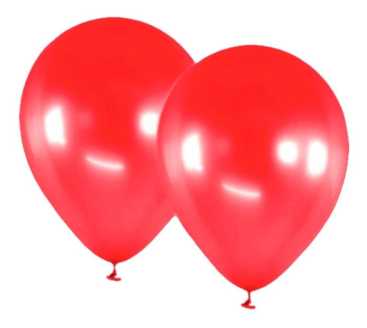 Balão Art Latex Nº9 Vermelho - Bexiga Metalizada 50 unidades