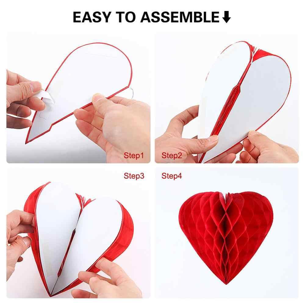 Balão coração papel seda colmeia
