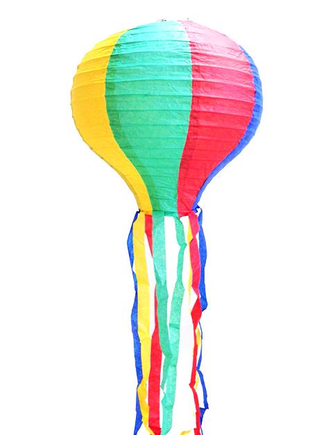 Balão lanterna de São João Colorido com Fitas para Festa Junina
