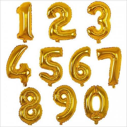 Balão Metalizado Número Dourado - 70cm