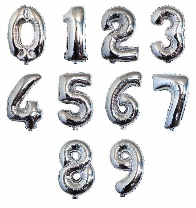 Balão Metalizado Número Prata - 40cm
