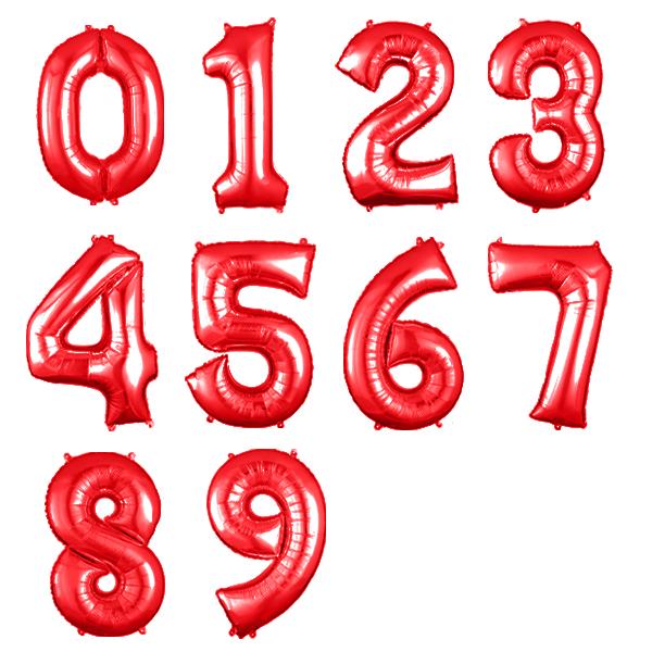 Balão Metalizado Número Vermelho - 40cm