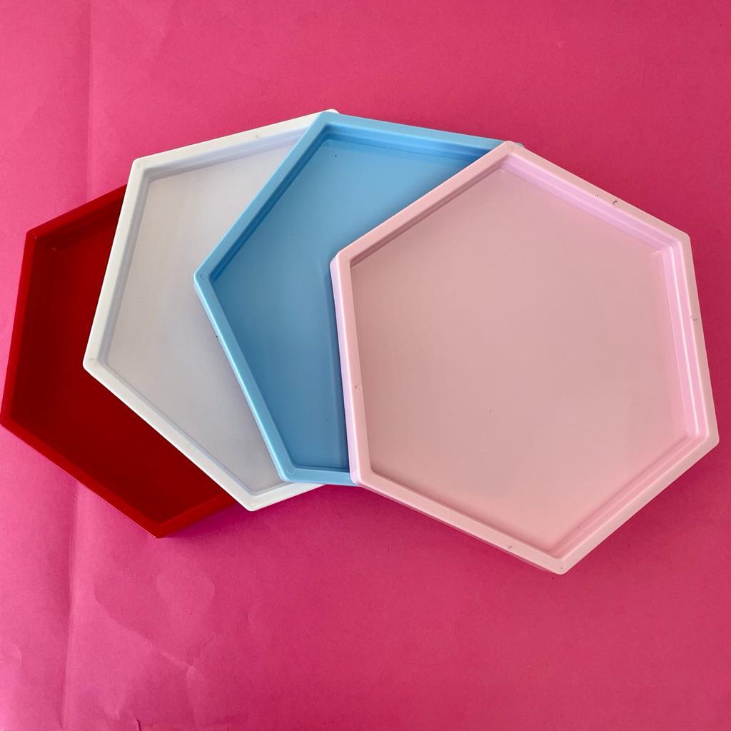 Bandeja sextavada hexagonal decorativa 22x22cm