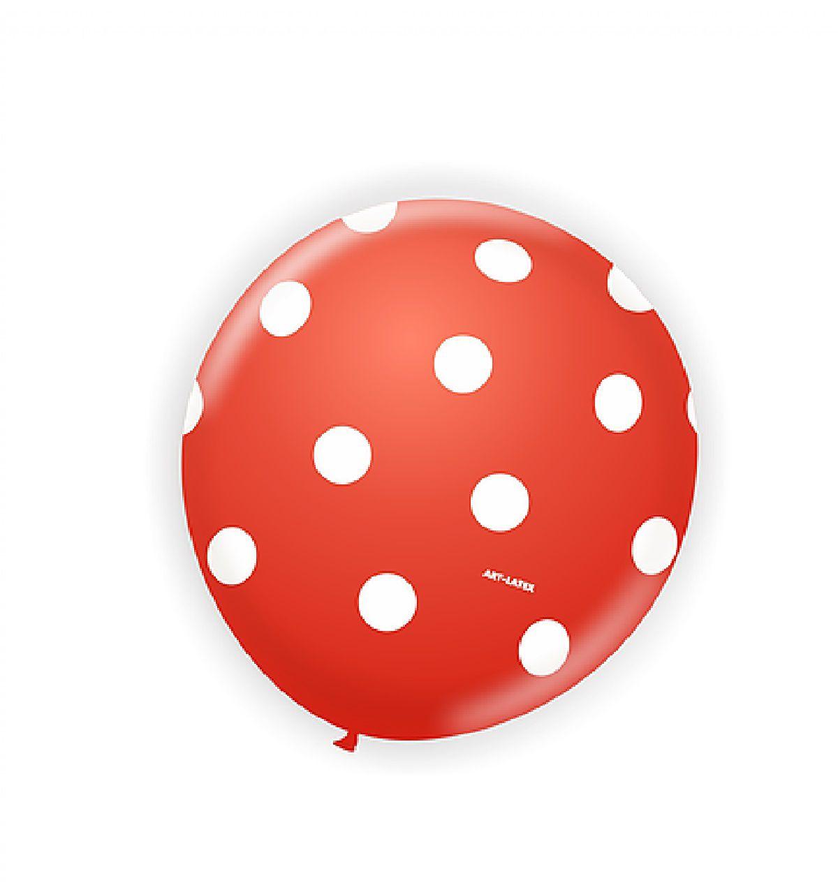 Bexiga Vermelho com Poá Branco - 50 unidades
