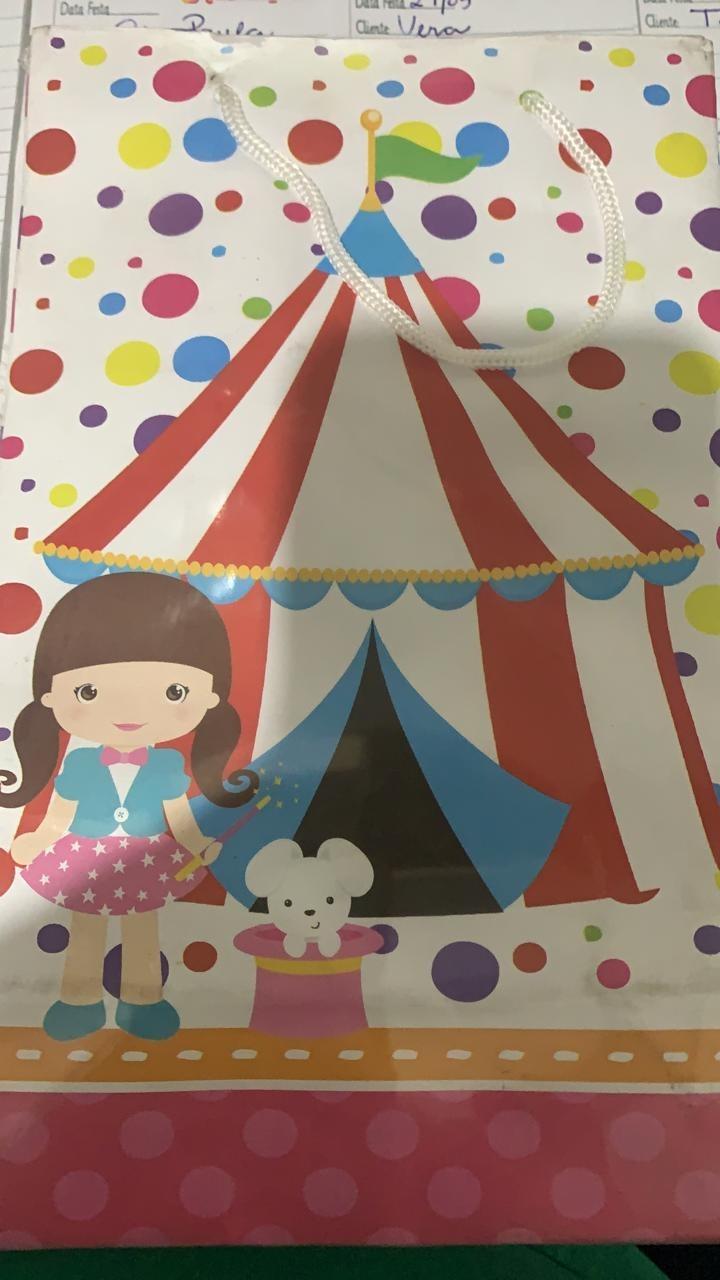 Bolsa de papel circo rosa 10 unidades